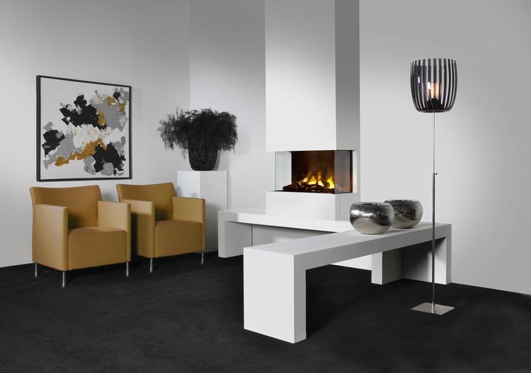 chimenea fuego electrico tres caras, Faber modelo 3-Step Opti-Myst